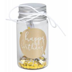 Little gift glass Happy Birthday d:3,5cm H:6,5cm