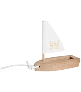 Sailing ship Let your dreams, white 12x5x12cm