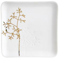 Gold twig plate 13x13x1,5cm
