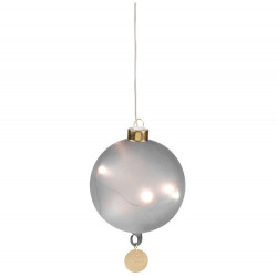 LED bauble lifelond dream smal l grey,D:10cm 2xAAA Timer IR