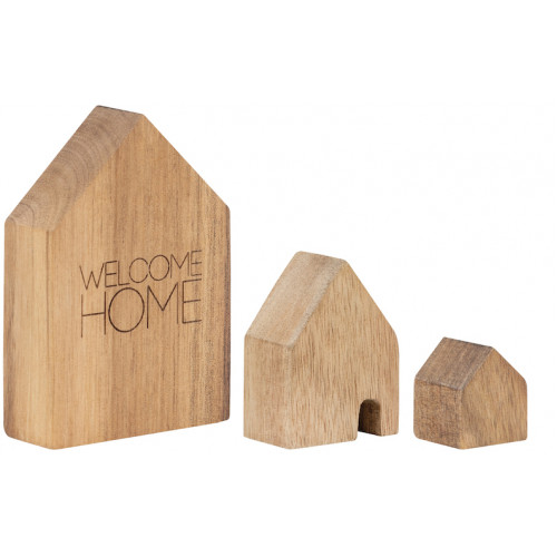 Wooden Houses Set of 3pcs Welcome home 9,5x6,5x2,5cm